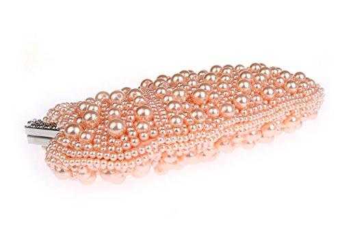 Pochette Main KAXIDY Main Blanc Perle Sacs a Sac Femme Fille Soiree a Rosé Sac C6tUq