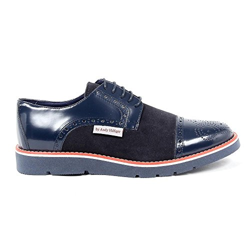 Blauw 43 Eur - 10 Us Andrew Charles Heren Brogue Oxford Shoe 911 Abrasivato Camoscio Bleu