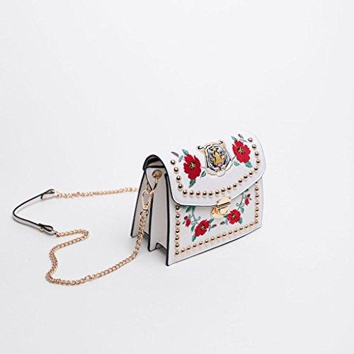 ricamata a borsa colore PU tracolla 21 bianco kg tracolla bianco nero kg 1 estate Borsa tracolla modello messicano decorativa 55 nero 0 catena borsa d0tPvn
