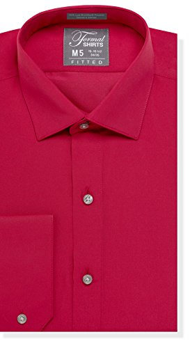 (Luxe Microfiber Men's Fitted Spread Collar Dress Shirt - Style Jesse Red)