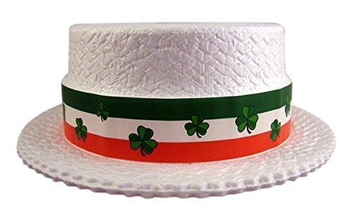 St.Pat'S Styrofoam Skimmer Hat, White (Hats Styrofoam Skimmer)