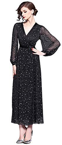 Ababalaya Women's Elegant Glitter Sequins V-Neck Long/Short Sleeve Maxi Runway Evening Dress,Long Sleeve,Tag S = US Size -