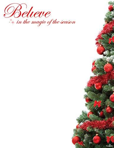 "Red Foil Believe Christmas Letterhead, 8.5""x11"", 40/PK"