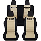 Totally Covers Fits 2018-2019 Jeep Wrangler JL Seat Covers: Black & Sand - Full Set: Front & Rear (23 Colors) 2-Door/4-Door Solid/Split Bench Back w/wo Armrest/Headrest
