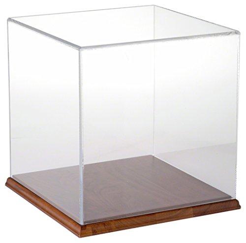 Acrylic Display Case Wood Base - Plymor Brand Clear Acrylic Display Case with Hardwood Base, 10