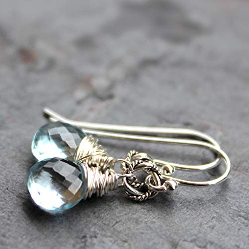 Petite Blue Topaz Earrings Sterling Silver Drop Dangle Gemstone Faceted Wire Wrapped