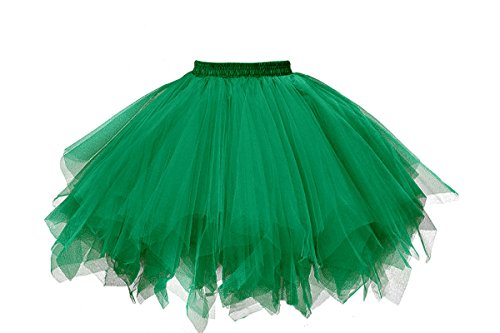 Musever 1950s Vintage Ballet Bubble Skirt Tulle Petticoat Puffy Tutu Dark Green -