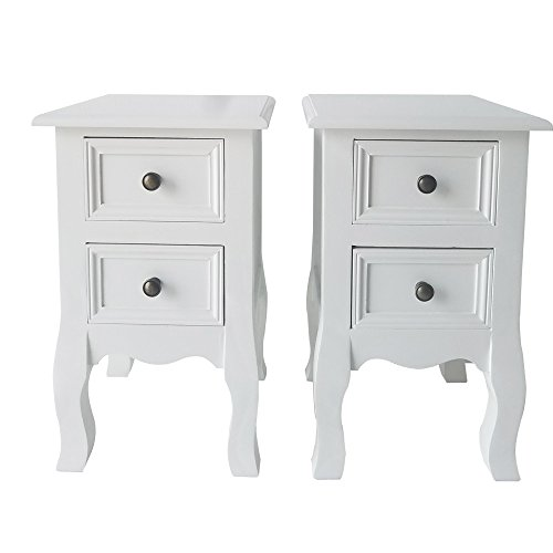 Table Round End Cabinet (Space Paths White Nightstand,Bedside Cabinet Table Wooden Ameriwood Bedroom Furniture End Table Chair Side Table,with Two Drawers Organizer for Storage,Set of 2,White)