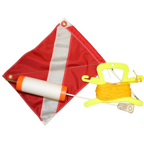 JCS Foam Dive Float with 14inch x 18inch Dive Flag and 100 Feet Poly (Yellow) Line.