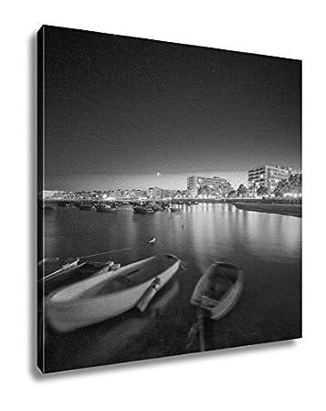 Ashley canvas ibiza island night view black and white 12x12 ag6518227