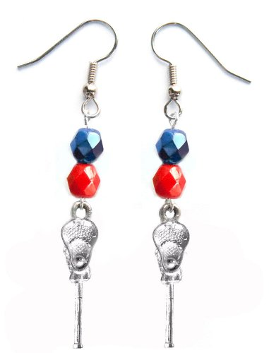 ''Lacrosse Stick & Ball'' Lacrosse Earrings (Team Colors Navy Blue & Red) by Edge Sports