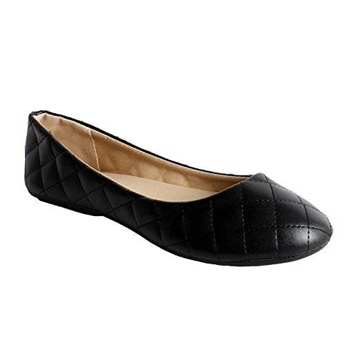 Guilty Schuhe Damen Comfort Round Toe Slip auf Ballett Wohnungen Schuhe Wohnungen 09 Schwarz gesteppt