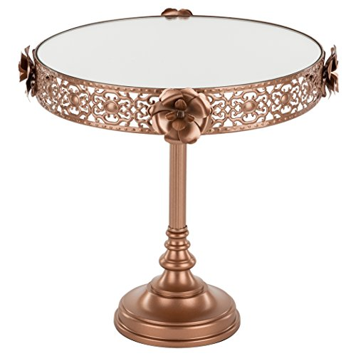 Madeleine Collection Rose Gold 10 Inch Mirror Cake Stand, Round Tall Metal Floral Dessert Cupcake Wedding Party Pedestal Display
