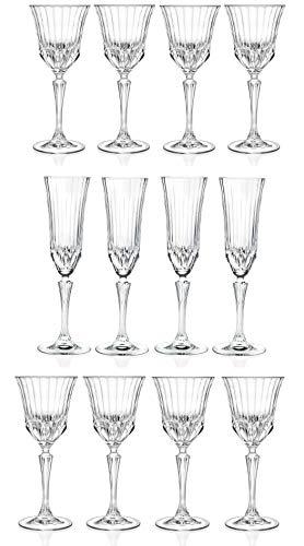 RCR Cristalleria Italiana Crystal Glass Drinkware Set (Champagne Flute/Water Goblet/Wine Goblet – 12 Piece)