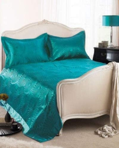TURQUOISE TEAL SATIN THROW BEDSPREAD WITH PILLOW SHAMS DOUBLE KING
