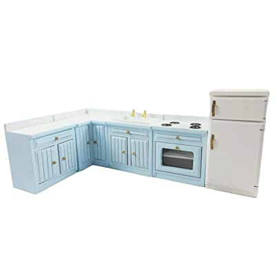 Melody Jane Dollhouse Pale Blue Fitted Kitchen Furniture Set Miniature Units & Appliances: Toys & Games