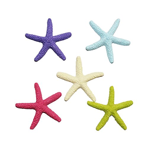 LJY 25 Pieces Multi-Colored Resin Pencil Finger Starfish for Wedding Decor, Home Decor and Craft Project, 2.3 Inches
