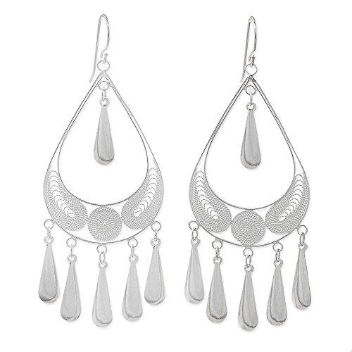 Sterling Silver Filigree Chandelier Earrings - 3