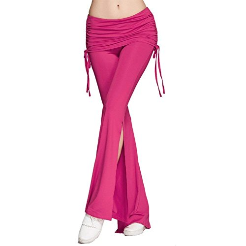 Larghi Rosa Eleganti Libero Pantaloni Donna Pantaloni Spacco Grazioso Tempo Casual Pantaloni Moda Pantalone Jogging Colpo Autunno Primaverile Giovane Monocromo Pantaloni Women CRO0nwq