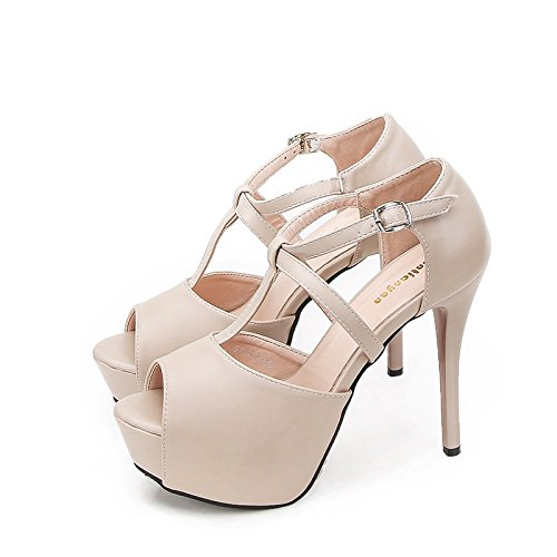 High Waterproof Women'S Mouth heels Party Jqdyl Shoes Table Fish Almond dWTEATxa