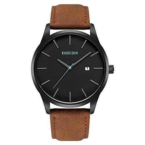 Watches Mens Sports Chronograph Waterproof Analog Quartz Watch with Black Leather Band Fashion Watch Women Watches (C-Brown ()