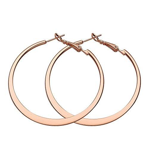 MELUOGE Stainless Steel 18k Gold Plated Hoop Earrings Rounded Hoop Earrings (Rose Gold)