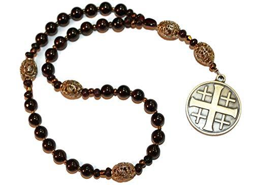 Unique Garnet Anglican Rosary, Jerusalem Cross ()