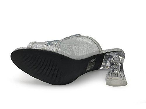 Enzo Romeo Jade01 Da Donna Classico Elegante Sandali Con Tacco Basso Sandali Strass Piattaforma Di Partito Di Nozze Open Toe Cuneo Scarpe Argento