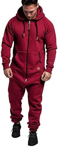 SPE969 Men`s Full-Zip Jogger Sport SuitSolid Splicing Autumn Winter Casual Hoodie Print Zipper Print Jumpsuit