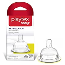 Playtex Baby Naturalatch Most like Mom Silicone Baby Bottle Nipples, Slow Flow, Pack of 2 Nipples