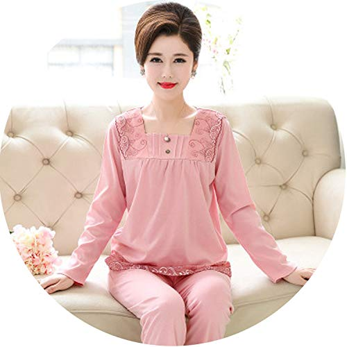 Show-Show-Fashion Pyjamas 100% Cotton O-Neck Long Sleeve Full Trousers Lady Two Piece Women Thin Pajama,Color 8,4XL -