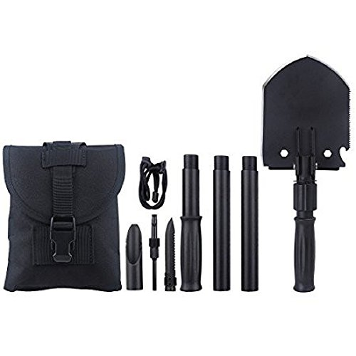 Military Portable Folding Shovel and Pickax with Tactical Waist Pack Army Surplus Multitool for Camping, Hiking, Backpacking, Fishing, Trench Entrenching Tool, Car Emergency etc.