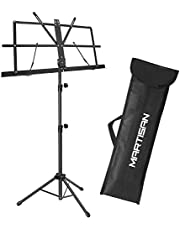 MARTISAN Sheet Music Stand Holder/Portable Folding Music Stand Super Sturdy Adjustable Height Tripod Base Metal Music Stand, Lightweight & Compact for Storage or Travel with Carrying Bag, Black