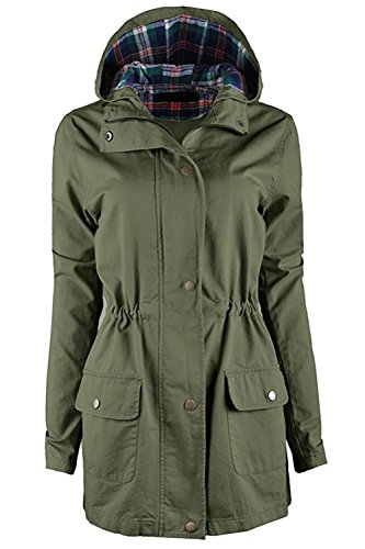 FASHION BOOMY Womens Zip Up Military Anorak Jacket W/Hood (Medium, NL_Wine)