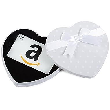 Amazon.com $75 Gift Card in a White Heart Tin (Classic White Card Design)