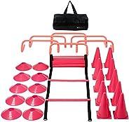 Pink Fitness & Agility Ladder Training Equipment Set – Ladder, 10 Cones, 10 Disc Cones, 6 Hurdles, & C