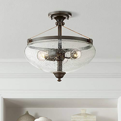 "Hartfield Rustic Farmhouse Ceiling Light Semi Flush Mount Fixture Oil Rubbed Bronze 15 1/4"" Wide 3-Light Clear Seedy Glass for Bedroom Kitchen Living Room Hallway Bathroom - Franklin Iron Works"