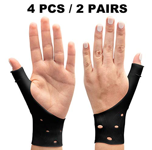 DropSky Gel Wrist Brace and Thumb Support Breathable Waterproof | Right & Left Hand | Relief Pain for Carpal Tunnel, Arthritis Wrist & Thumb, De Quervain's Tenosynovitis (All Sizes) (4 Pieces)