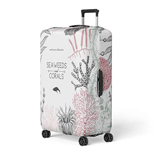 Pinbeam Luggage Cover Sea Corals Fish Stars Sketch Vintage Underwater Natural Travel Suitcase Cover Protector Baggage Case Fits 18-22 inches (Star Coral Polyp)