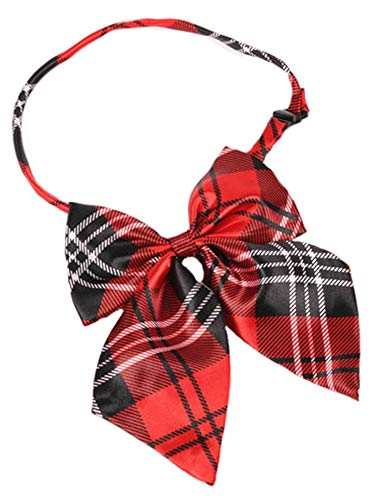 Flairs New York Women Handmade Pre-Tied Bowknot Bow Tie (Crimson Red/Black Plaids [Silky])