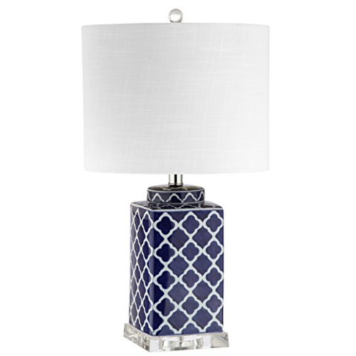 "JONATHAN Y JYL3011A Table Lamp, 13"" x 23"" x 13"", Blue/White with White Shade"