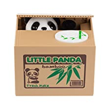 Lemonbest Cute Stealing Coin Cat Money Box Piggy Bank, Panda