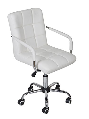 Tms White Modern Office Executive Synthetic Leather Swivel