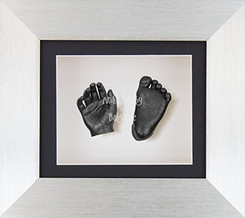 BabyRice 3D Baby Boy Casting Kit Brushed Silver Effect Frame Pewter Foot Casts