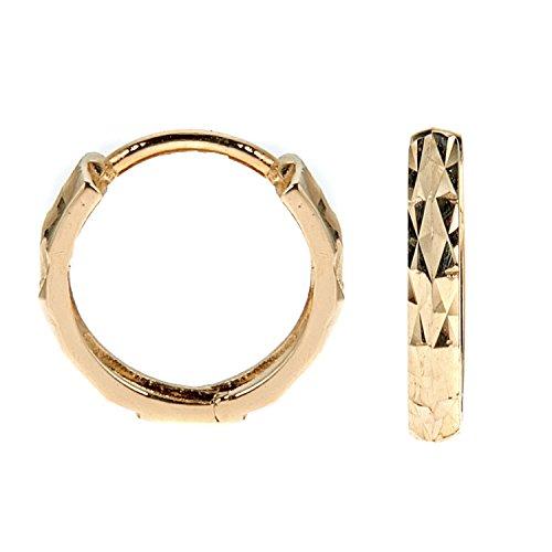Men's Unisex 14k Yellow Gold Square Tubular Diamond-cut Huggie Hoop Single Earring 2.25x12mm 14k Yellow Gold Square Hoop