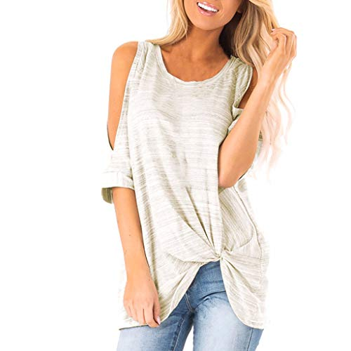 Wobuoke 2019 New Dew Shoulder Short Sleeve Striped Print Knot Twist Front Tunic Blouse Gray