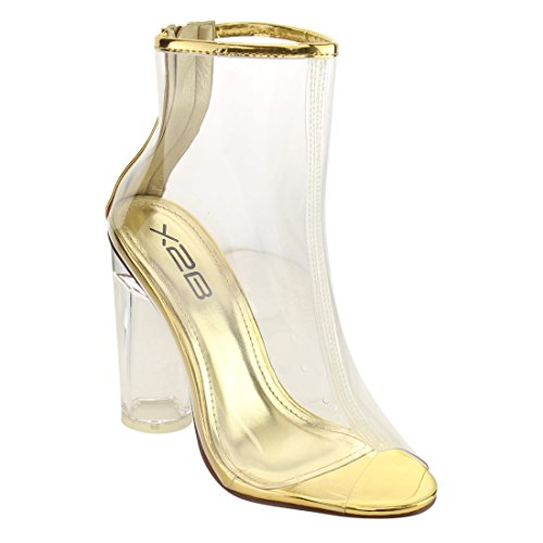 X2B FG97 Women's Ankle High Peep Toe Lucite Heel Bootie Sandals, Color:GOLD, Size:8 - Gold Colour Block