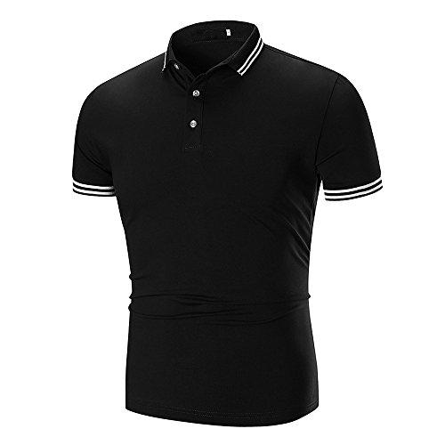 Shirt chemise Ronamick Casual Chemise Sous Tops Mode T Homme Simple Courtes Revers shirt Marine Tee Tunique Manches 3xl Noir Bouton Couleur Classique Unie Pour qT6tz