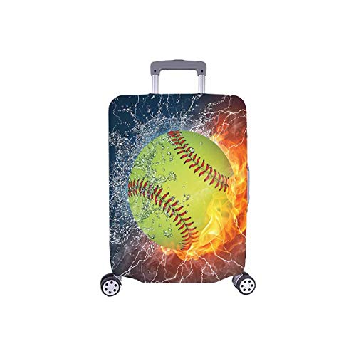 InterestPrint Cool Softball Ball in Fire and Water Travel Luggage Cover Suitcase Baggage Protector Fits 18