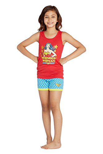DC Comics Girls' Little Ww Logo Tank Short Pajamas, Red, 6/6X ()